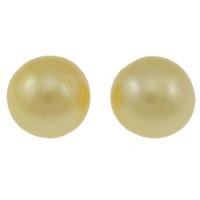 Koraliki z pereł hodowlanych słodkowodnych bez otworu, Perła naturalna słodkowodna, Koło, Naturalne, złoto, klasy AA, 11-12mm, sprzedane przez PC