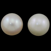 No Hole Cultured Freshwater Pearl Beads, Round, natural, white, Grade AAA, 11-12mm, Sold By PC