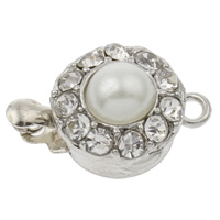 Zinc Alloy Box Clasp, Flat Round, platinum color plated, with plastic pearl & with rhinestone & single-strand, nickel, lead & cadmium free, 12x7x5mm, Hole:Approx 2mm, 10PCs/Bag, Sold By Bag