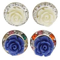 Синтетический коралл Сережка-гвоздик, с Латунь, Форма цветка, Платиновое покрытие платиновым цвет, со стразами & слоенная, Много цветов для выбора, 13x8mm, 18Пары/Лот, продается Лот