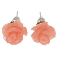 Синтетический коралл Сережка-гвоздик, латунь гвоздик, Форма цветка, слоенная, розовый, 10mm, 24Пары/Лот, продается Лот
