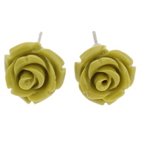 Синтетический коралл Сережка-гвоздик, с Пластиковые вилки для ухи, латунь гвоздик, Форма цветка, слоенная, желтый, 13x12mm, 24Пары/Лот, продается Лот