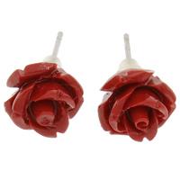 Синтетический коралл Сережка-гвоздик, с Пластиковые вилки для ухи, латунь гвоздик, Форма цветка, слоенная, красный, 10x10mm, 24Пары/Лот, продается Лот