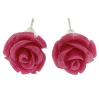 Синтетический коралл Сережка-гвоздик, с Пластиковые вилки для ухи, латунь гвоздик, Форма цветка, слоенная, розовый кармин, 12x12mm, 24Пары/Лот, продается Лот