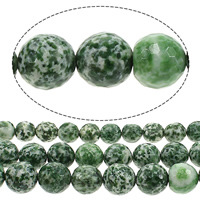 Natural Green Spot Stone Beads, Round, more sizes for choice & faceted, Hole:Approx 1mm, Sold By Lot