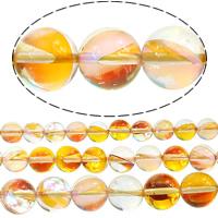 زجاج خرزة, جولة, نصف مطلي, أكثر الأحجام للاختيار, حفرة:تقريبا 1mm, تباع بواسطة الكثير