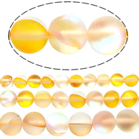 Glass Beads, Round, plated, more sizes for choice & frosted, Hole:Approx 1mm, Length:Approx 15.5 Inch, Sold By Lot