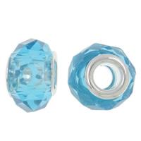 European kristalli helmiä, Rondelli, hopeaa Kaksoisjohdin ilman peikko, Akvamariini, 14x9mm, Reikä:N. 5mm, 20PC/laukku, Myymät laukku