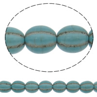 Turquoise Beads, Oval, green, 12mm, Hole:Approx 1mm, Approx 32PCs/Strand, Sold Per Approx 15 Inch Strand
