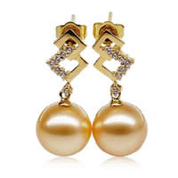 Golden South Sea Pearl Drop Earring with Diamond   Brass Round natural golden 10-11mm