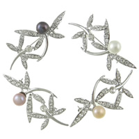 Freshwater Pearl Brooch, Brass, with Freshwater Pearl, Dragonfly, platinum color plated, with rhinestone, mixed colors, nickel, lead & cadmium free, 61x30x18mm, 9-10mm, Sold By PC