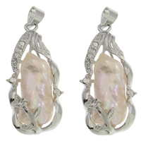Freshwater Pearl Pendants Cultured Freshwater Nucleated Pearl with Zinc Alloy Nuggets natural pink 13x28x7.50mm Hole:Approx 3x3.5mm
