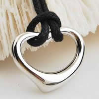Brass Heart Pendants, silver color plated, nickel, lead & cadmium free, 24x21mm, Hole:Approx 5-10mm, 20PCs/Bag, Sold By Bag
