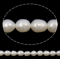 Rice Cultured Freshwater Pearl Beads, natural, white, Grade A, 6-7mm, Hole:Approx 0.8mm, Sold Per 14.5 Inch Strand