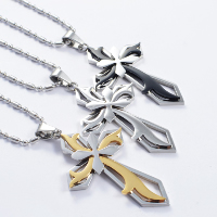 Titanium Steel Pendants, Cross, plated, more colors for choice, 35x65mm, Hole:Approx 4x7mm, 3PCs/Lot, Sold By Lot