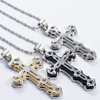 Titanium Steel Pendants, Cross, plated, more colors for choice, 40x70mm, Hole:Approx 4x7mm, 3PCs/Lot, Sold By Lot