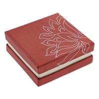 Kartonowe pudełko na bransoletkę, Tektura, Kwadrat, z motywem kwiatowym & srebrny akcent, czerwony, 88x88x36mm, 50komputery/wiele, sprzedane przez wiele