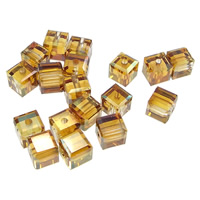 Koraliki perłowe i kryształowe CRYSTALLIZED™, Kostka, kryształowa miedź, 4x4x4mm, otwór:około 0.5mm, 72komputery/wiele, sprzedane przez wiele