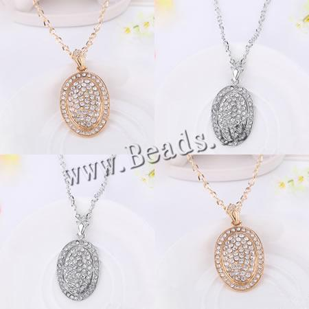 Buy Zinc Alloy Sweater Chain Necklace Flat Oval plated twist oval chain & rhinestone colors choice nickel lead & cadmium free 50x35mm Length:Approx 28 Inch 20Strands/Lot Sold Lot