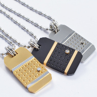 Titanium Steel Pendants, Rectangle, plated, with rhinestone, more colors for choice, 20x40mm, Hole:Approx 5-8mm, 3PCs/Lot, Sold By Lot