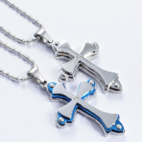 Titanium Steel Pendants, Cross, plated, with rhinestone, more colors for choice, 30x50mm, Hole:Approx 4x7mm, 3PCs/Lot, Sold By Lot