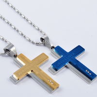 Titanium Steel Pendants, Cross, plated, with rhinestone, more colors for choice, 37x40mm, Hole:Approx 4x7mm, 3PCs/Lot, Sold By Lot