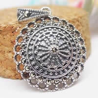 Thailand Sterling Silver Pendants, Flower, with rhinestone, 17x17mm, Hole:Approx 3-5mm, 2PCs/Bag, Sold By Bag