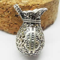 Thailand Sterling Silver Pendants, Money Bag, with rhinestone & hollow, 17x10mm, Hole:Approx 3-5mm, 2PCs/Bag, Sold By Bag