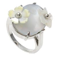 кольцо из ракушки, Латунь, с Черная ракушка & Белая ракушка, Форма цветка, Платиновое покрытие платиновым цвет, не содержит никель, свинец, 18x21x29mm, отверстие:Приблизительно 1mm, размер:7.5, 10ПК/сумка, продается сумка