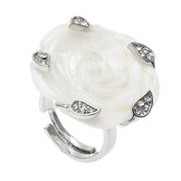 кольцо из ракушки, Латунь, с Белая ракушка, Форма цветка, Платиновое покрытие платиновым цвет, регулируемый & со стразами, не содержит никель, свинец, 28x28x27mm, отверстие:Приблизительно 1mm, размер:6.5, 10ПК/сумка, продается сумка