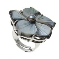 кольцо из ракушки, Латунь, с Черная ракушка, Форма цветка, Платиновое покрытие платиновым цвет, регулируемый, не содержит никель, свинец, 32x32x30mm, отверстие:Приблизительно 1mm, размер:9, 10ПК/сумка, продается сумка