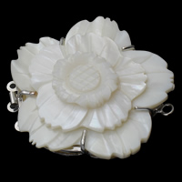 Shell Box Clasp, Brass, with White Shell, Flower, platinum color plated, 3-strand, nickel, lead & cadmium free, 49x45x12mm, Hole:Approx 2.5mm, 10PCs/Bag, Sold By Bag