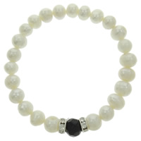 Freshwater Cultured Pearl Bracelet, Freshwater Pearl, with Crystal & Brass, Potato, white, 8mm, Sold Per 7 Inch Strand