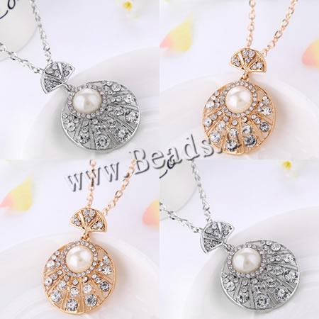 Buy Zinc Alloy Sweater Chain Necklace Plastic Pearl Flat Round plated twist oval chain & rhinestone colors choice nickel lead & cadmium free 43x60mm Length:Approx 28 Inch 20Strands/Lot Sold Lot