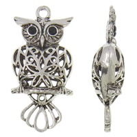 Zinc Alloy Pendant Rhinestone Setting Owl antique silver color plated lead   cadmium free 24x50.50x12.50mm Hole:Approx 3mm