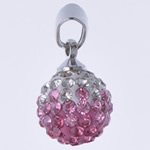 Rhinestone Pendant, Round, handmade, with rhinestone, more colors for choice, 10x19mm, Hole:Approx 3x5mm, 10PCs/Bag, Sold By Bag