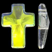 Zawieszki kryształowe, Kryształ, Krzyż, Platerowane kolorem, fasetowany, 30x40x11mm, otwór:około 2mm, 5komputery/torba, sprzedane przez torba