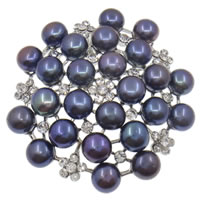 Freshwater Pearl Brooch, with Zinc Alloy, Flower, black, 7-8mm, 49x7mm, Sold By PC