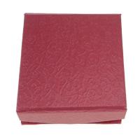 Tektura Pudełko na naszyjniki, ze Welwet, Kwadrat, czerwony, 93x93x35mm, 50komputery/wiele, sprzedane przez wiele