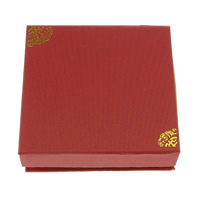 Kartonowe pudełko na bransoletkę, Tektura, ze Jedwab, Kwadrat, złoty akcent, czerwony, 95x95x30mm, 50komputery/wiele, sprzedane przez wiele