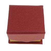 Tektura Pojedyncze pudełko na pierścionek, ze Welwet, Kwadrat, czerwony, 56x56x36mm, 48komputery/torba, sprzedane przez torba