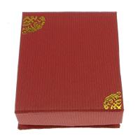 Kartonowe pudełko na naszyjnik, Tektura, ze Gąbka, Prostokąt, złoty akcent, czerwony, 68x82x29mm, 100komputery/wiele, sprzedane przez wiele