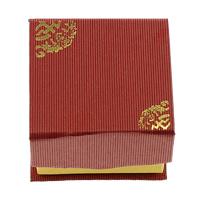 Tektura Pojedyncze pudełko na pierścionek, ze Gąbka, Kwadrat, złoty akcent, czerwony, 51x51x36mm, 100komputery/wiele, sprzedane przez wiele