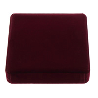 Velveteen Bracelet Box, with Plastic, Square, red, 186x186x40mm, 10PCs/Lot, Sold By Lot