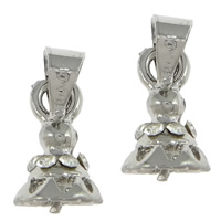 Zinc Alloy Peg Bail, platinum color plated, with rhinestone, nickel, lead & cadmium free, 6x10x7mm, 1mm, Hole:Approx 4x4mm, 100PCs/Lot, Sold By Lot