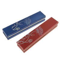 Kartonowe pudełko na naszyjnik, Tektura, ze Welwet, Prostokąt, z motywem kwiatowym & srebrny akcent, dostępnych więcej kolorów, 226x46x35mm, 50komputery/wiele, sprzedane przez wiele