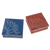 Kartonowe pudełko na bransoletkę, Tektura, ze Welwet, Kwadrat, z motywem kwiatowym & srebrny akcent, dostępnych więcej kolorów, 90x90x35mm, 50komputery/wiele, sprzedane przez wiele