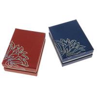 Kartonowe pudełko na zestaw biżuterii, Tektura, wisiorek & Pierścień, ze Welwet, Prostokąt, z motywem kwiatowym & srebrny akcent, dostępnych więcej kolorów, 68x91x32mm, 100komputery/wiele, sprzedane przez wiele