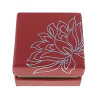 Tektura Pojedyncze pudełko na pierścionek, ze Welwet, Kwadrat, z motywem kwiatowym & srebrny akcent, czerwony, 50x50x34mm, 100komputery/wiele, sprzedane przez wiele