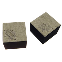 Linen Single Ring Box, with Velveteen & Plastic, Square, with flower pattern, more colors for choice, 60x60x49mm, 30PCs/Lot, Sold By Lot